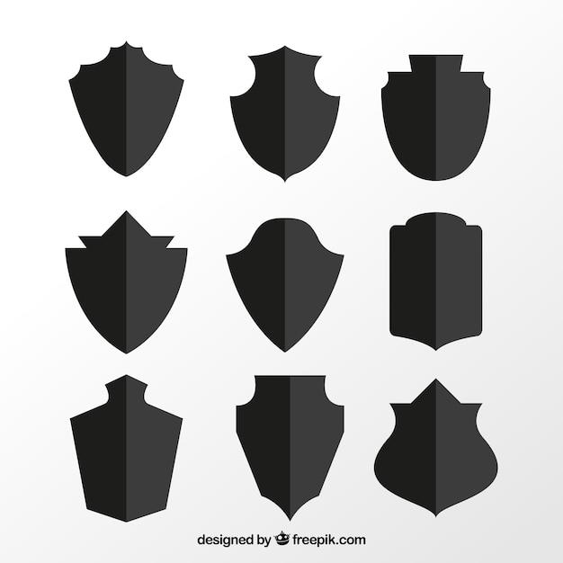Set di sagome scudo Vettore gratuito