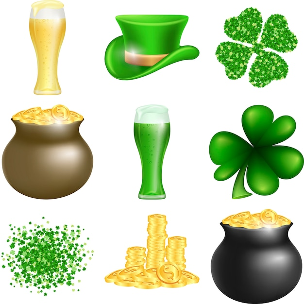 Set di saint patricks day Vettore Premium