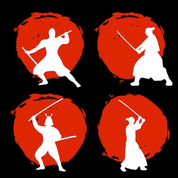 Set di samurai warriors silhouette sulla luna rossa Vettore Premium