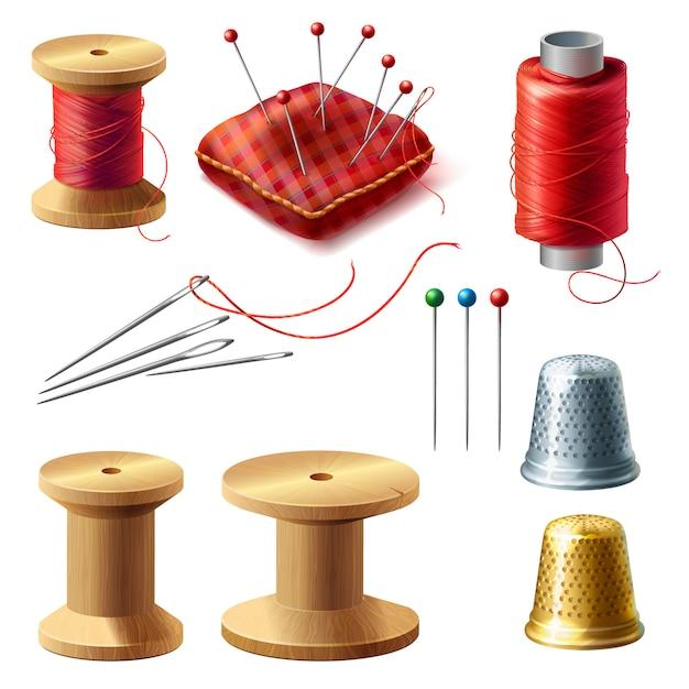 Set di sarto realistico 3d. bobina di legno con fili, aghi per sartoria, cucito Vettore gratuito