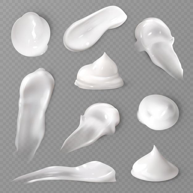 Set di sbavature di crema cosmetica realistica Vettore Premium