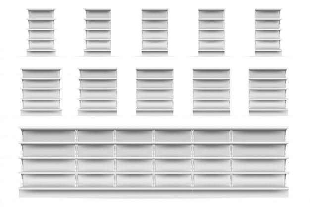 Set di scaffali per negozi. svuotare il negozio del supermercato vetrina collezione icona scaffale. vista frontale bianca realistica in bianco degli scaffali di esposizione del negozio al dettaglio. concetto di mercato e business Vettore Premium