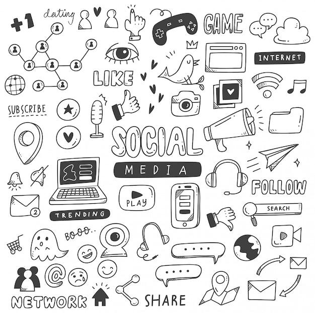 Set di scarabocchi dei social media Vettore Premium