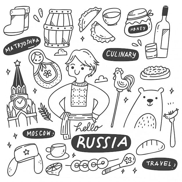 Set di scarabocchi di cultura russa Vettore Premium