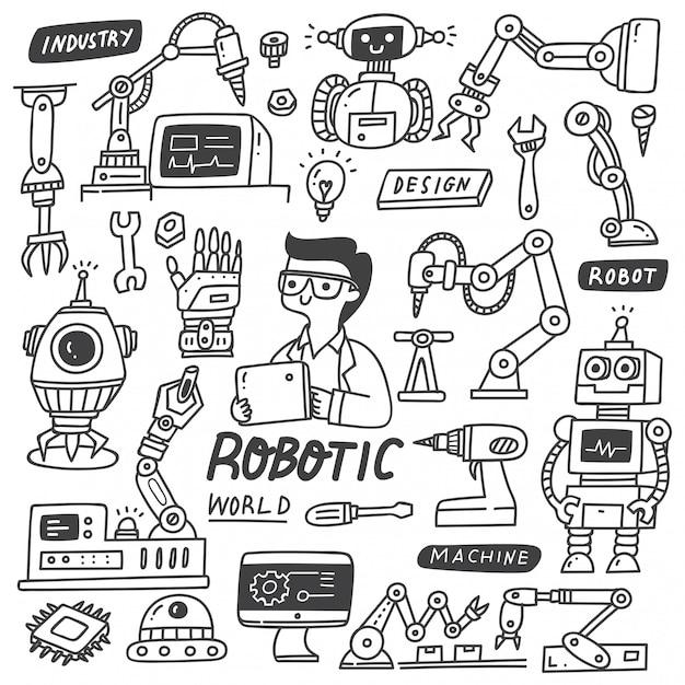 Set di scarabocchi industria robotica Vettore Premium