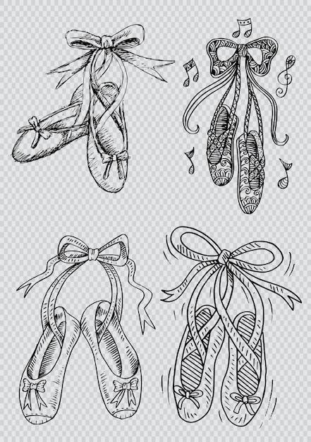 Set di scarpe disegnate a mano balletto Vettore Premium