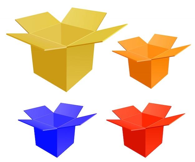 Set di scatola di carta aperta su uno sfondo bianco. Vettore Premium