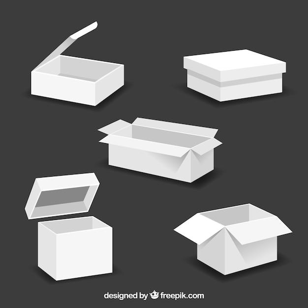 Set di scatole bianche per la spedizione in stile piatto Vettore gratuito