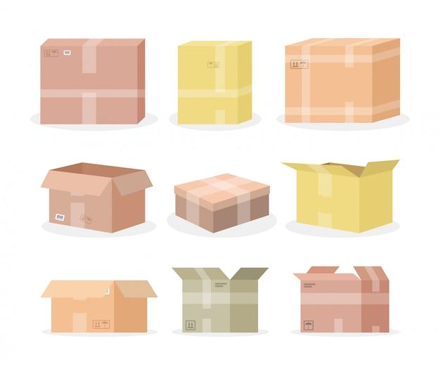 Set di scatole di cartone Vettore gratuito