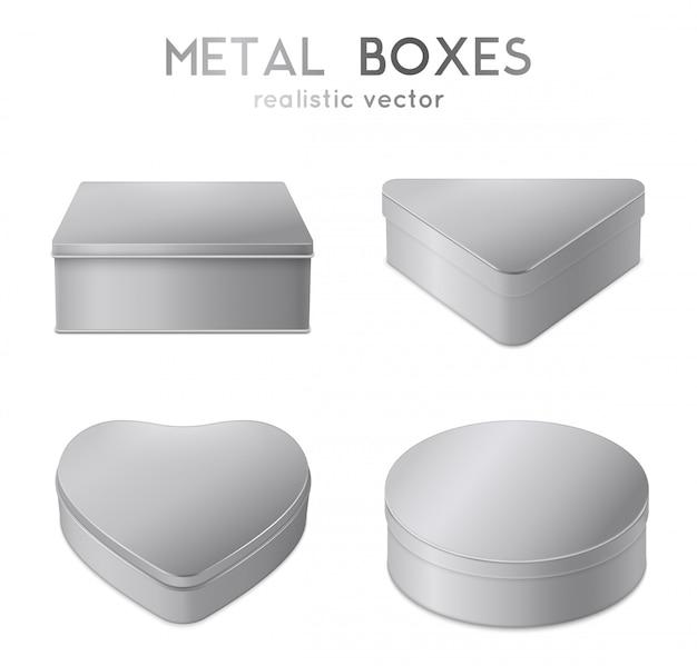 Set di scatole di metallo realistici Vettore gratuito