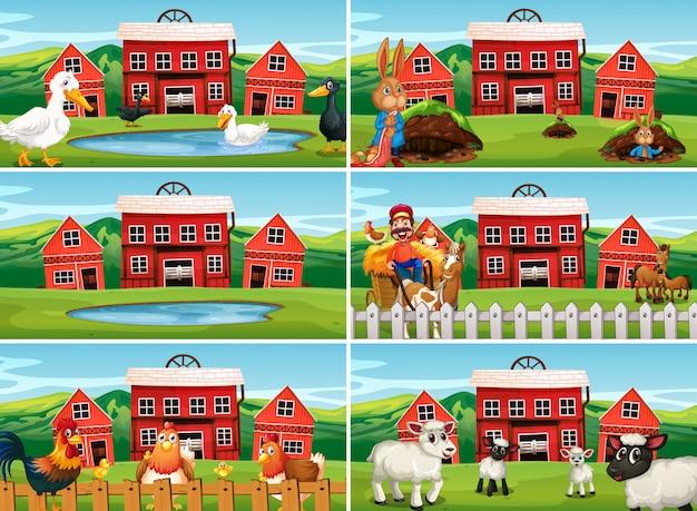 Set di scena agricola Vettore Premium