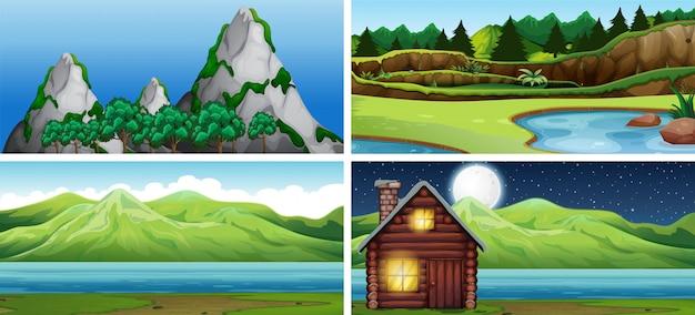 Set di scena della natura Vettore gratuito