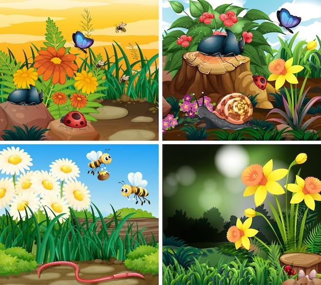 Set di scena di sfondo con tema natura Vettore gratuito