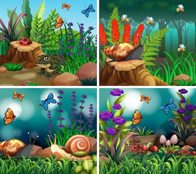 Set di scena di sfondo con tema natura Vettore Premium