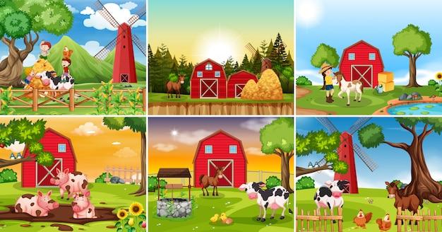 Set di scena terreni agricoli Vettore Premium