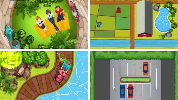 Set di scene aeree vista dall'alto in natura e all'aperto Vettore gratuito