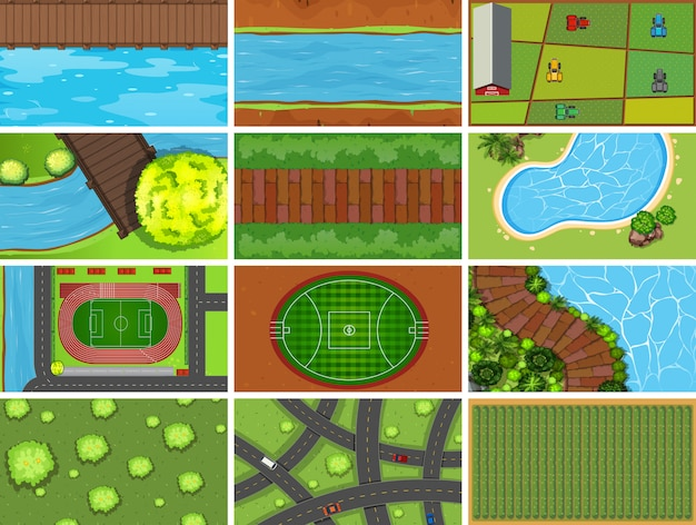 Set di scene aeree vista dall'alto o di sfondo in natura e all'aperto Vettore gratuito