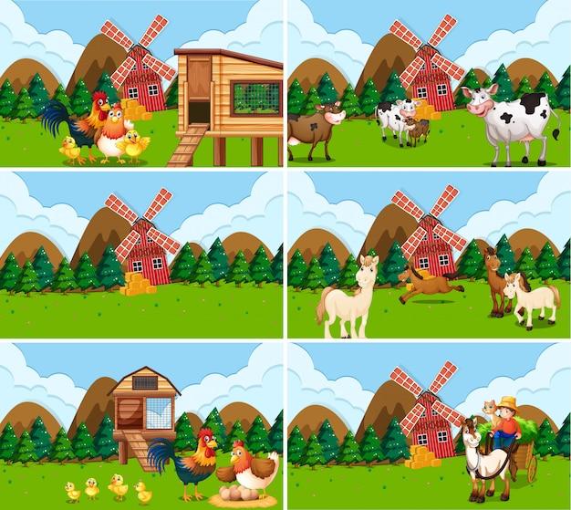 Set di scene di fattoria withs Vettore gratuito