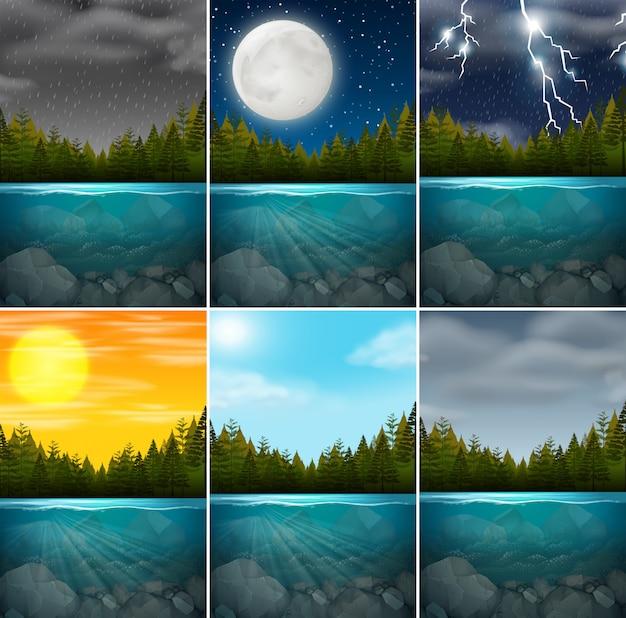 Set di scene di lago diverse Vettore gratuito