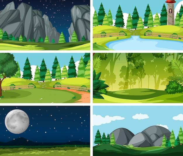Set di scene di sfondo in natura Vettore gratuito