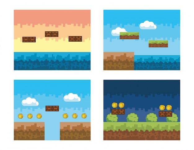 Set di scene di videogiochi con cespugli e monete pixelate Vettore Premium