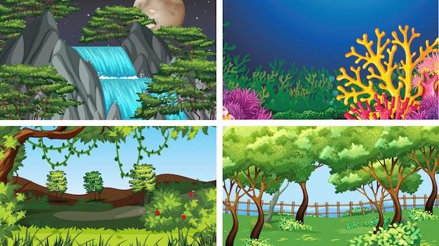 Set di scene in ambiente naturale Vettore gratuito