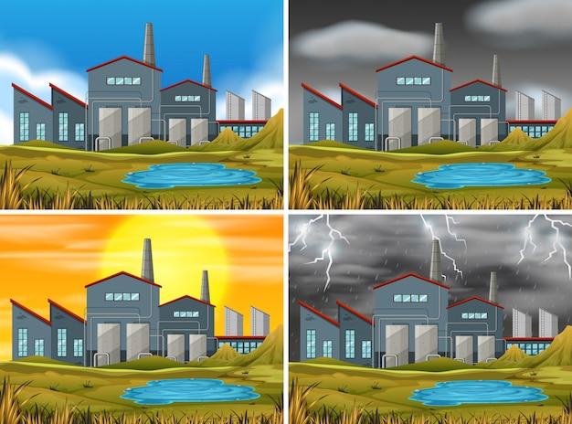 Set di scene industriali Vettore gratuito