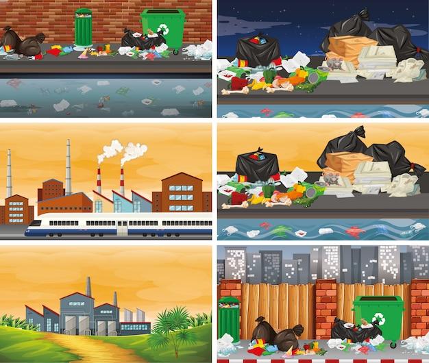 Set di scene inquinate o di sfondo Vettore gratuito