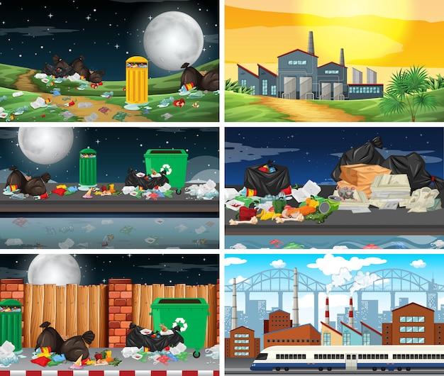 Set di scene inquinate Vettore gratuito