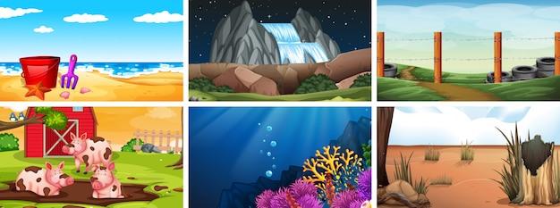 Set di scene o sfondi di giorno, notte e sott'acqua Vettore gratuito
