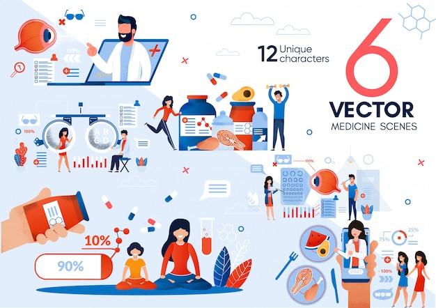 Set di scene piatte del dottore online counselling Vettore Premium