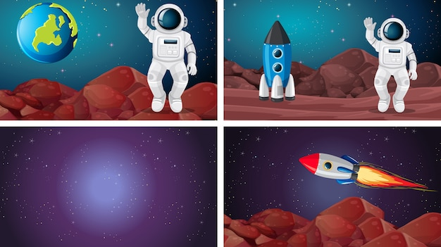 Set di scene spaziali diverse Vettore gratuito