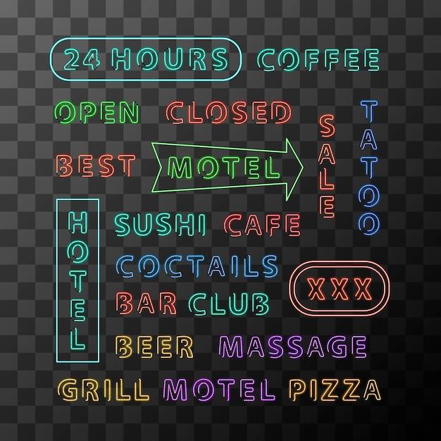 Set di schede di segno al neon differenti per città di notte su sfondo trasparente Vettore Premium