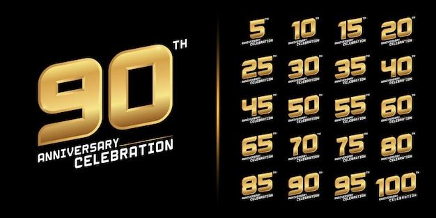 Set di schemi celebrazione anniversario d'oro. Vettore Premium