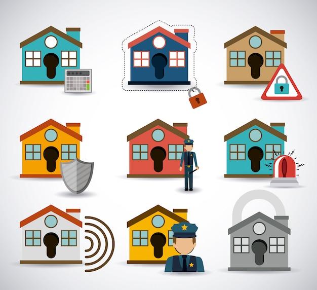 Set di schemi di sicurezza domestica Vettore Premium
