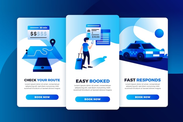 Set di schermate dell'app di onboarding del servizio taxi Vettore gratuito