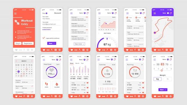 Set di schermate dell'interfaccia utente, ux, gui modello piatto dell'app fitness Vettore Premium