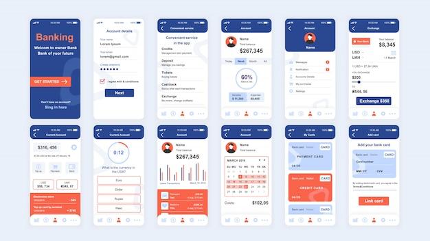 Set di schermate ui, ux, gui modello piatto dell'app banking Vettore Premium