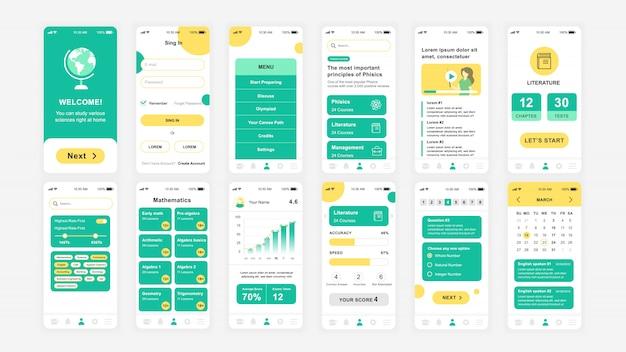 Set di schermate ui, ux, gui modello piatto dell'app education Vettore Premium