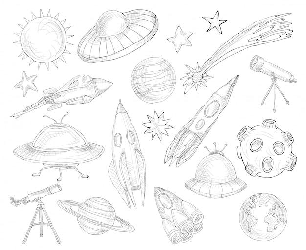Set di schizzo di oggetti spaziali Vettore gratuito