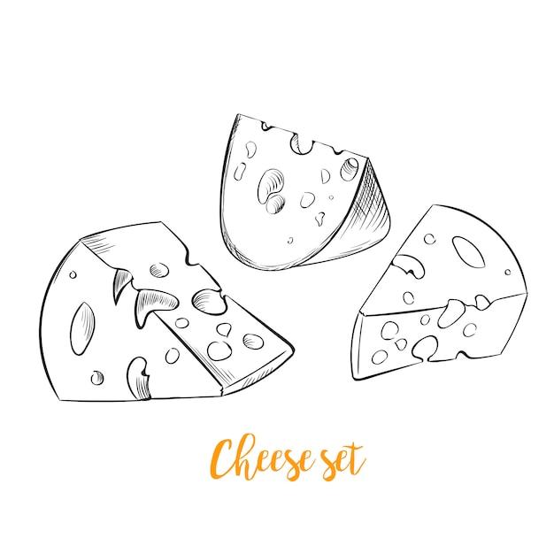 Set di schizzo disegnato a mano di formaggio Vettore gratuito