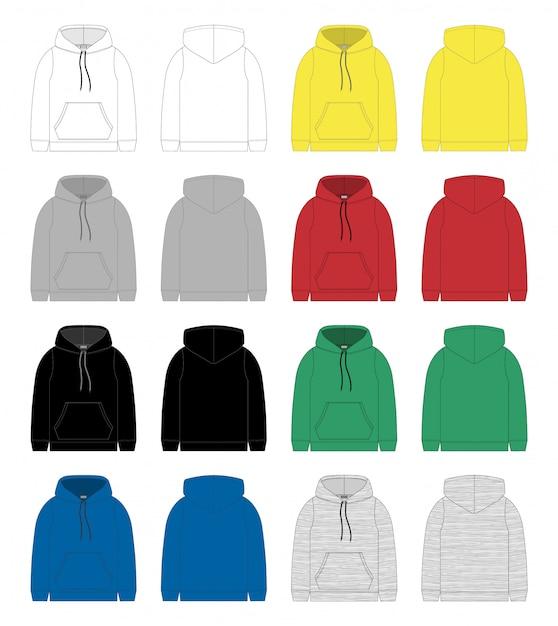 Set di schizzo tecnico per modello felpa con cappuccio da uomo Vettore Premium