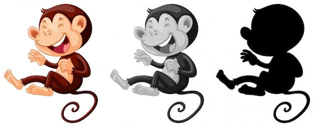 Scimmia Che Ride Disegno.Set Di Scimmia Che Ride Vettore Gratis