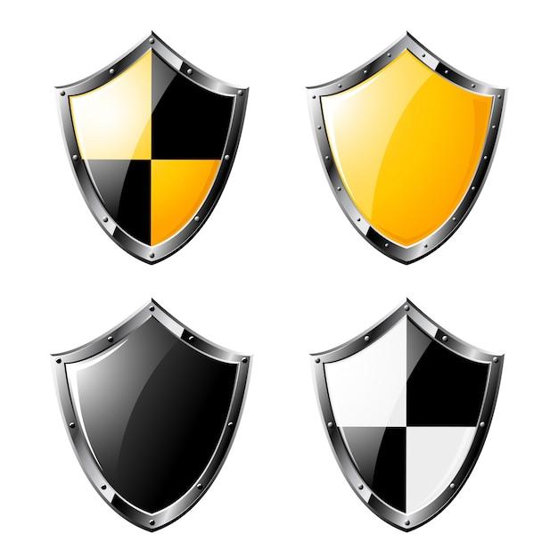 Set di scudi in acciaio isolato su bianco Vettore Premium