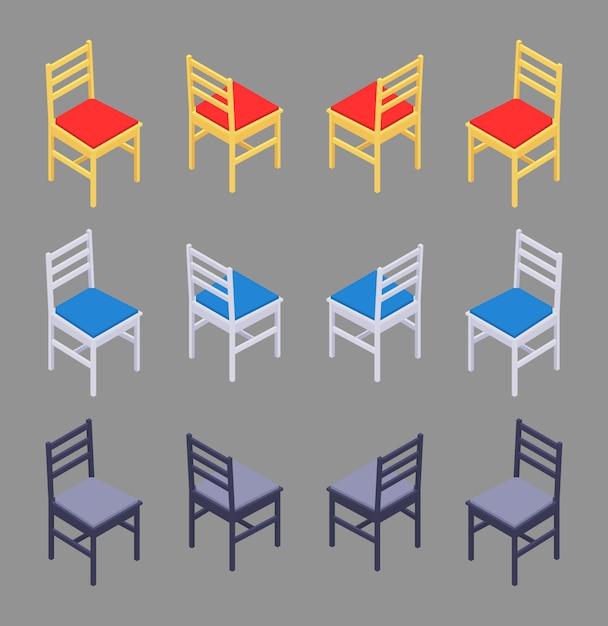 Set di sedie colorate isometriche Vettore Premium