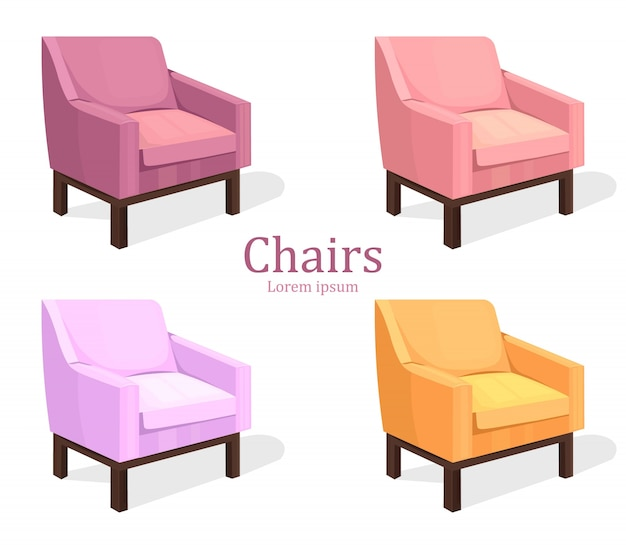 Set di sedie colorate. Moderna collezione di imbottiti | Scaricare ...