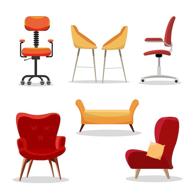Set di sedie. poltrona comoda della mobilia e progettazione moderna del sedile nell'illustrazione interna. sedie per ufficio affari o poltrone isolati Vettore Premium