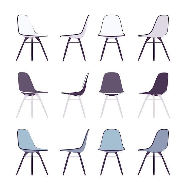 Set di sedie Vettore Premium