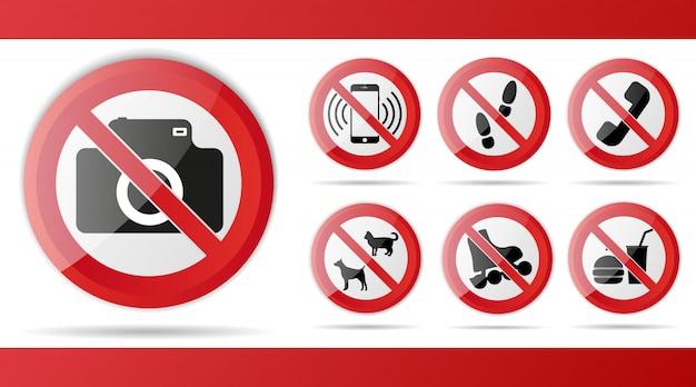 Set di segnale di divieto rosso Vettore Premium