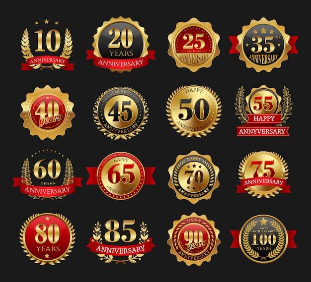 Set di segni d'oro anniversario Vettore Premium